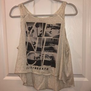 Hollister Off White Lace Tank Top